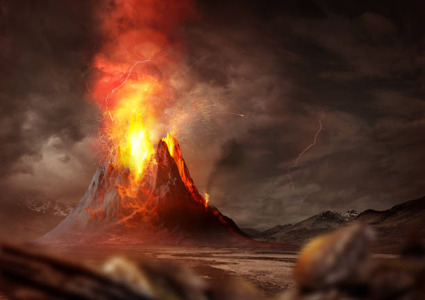 Massive Volcano Eruption Massive Volcano Eruption. A large volcano erupting hot lava and gases into the atmosphere. 3D Illustration. volcano stock pictures, royalty-free photos & images