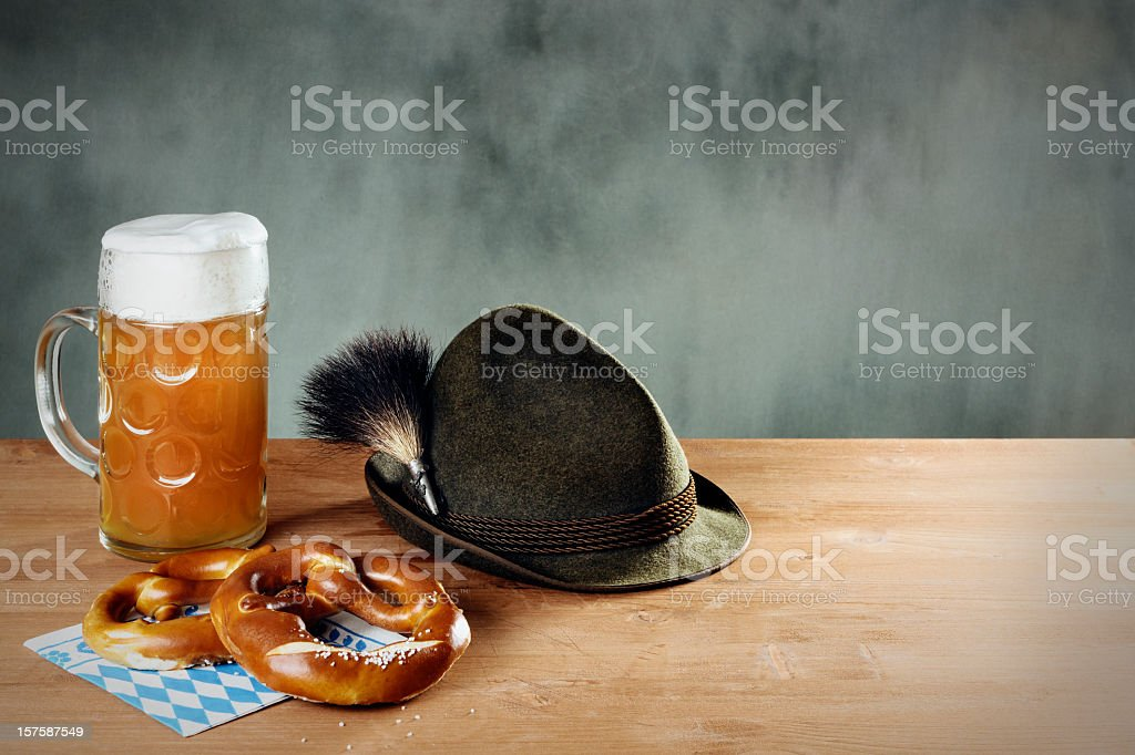 Masskrug beer, Pretzel and Hat with Gamsbart royalty-free stock photo