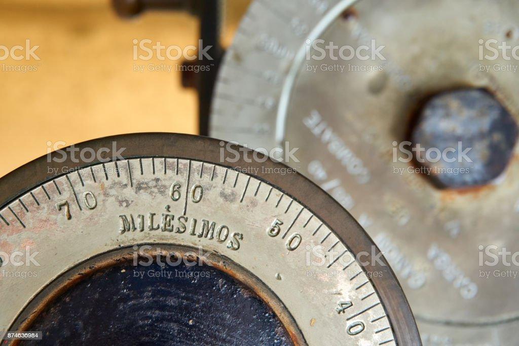 massurement machinery wheel stock photo