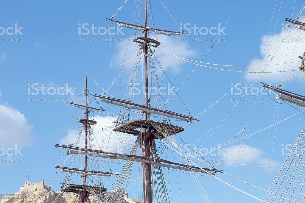 mast and crow´s nest stock photo