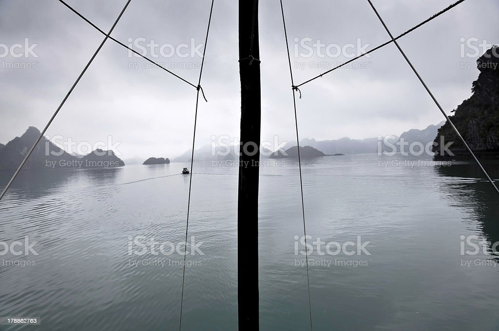 Mast and misty horizon, Halong Bay, Vietnam royalty-free stock photo