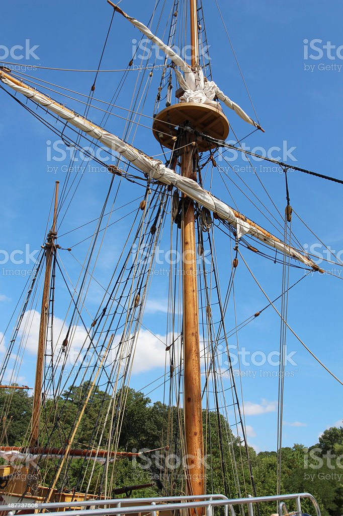 Mast of a colonial-era ship stock photo