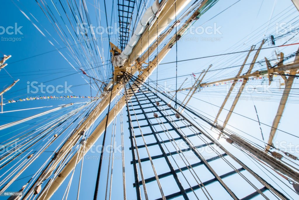 Mast of a ship on a sunny day stock photo