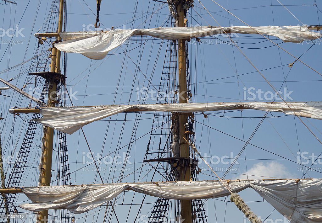 Mast of a tall ship stock photo