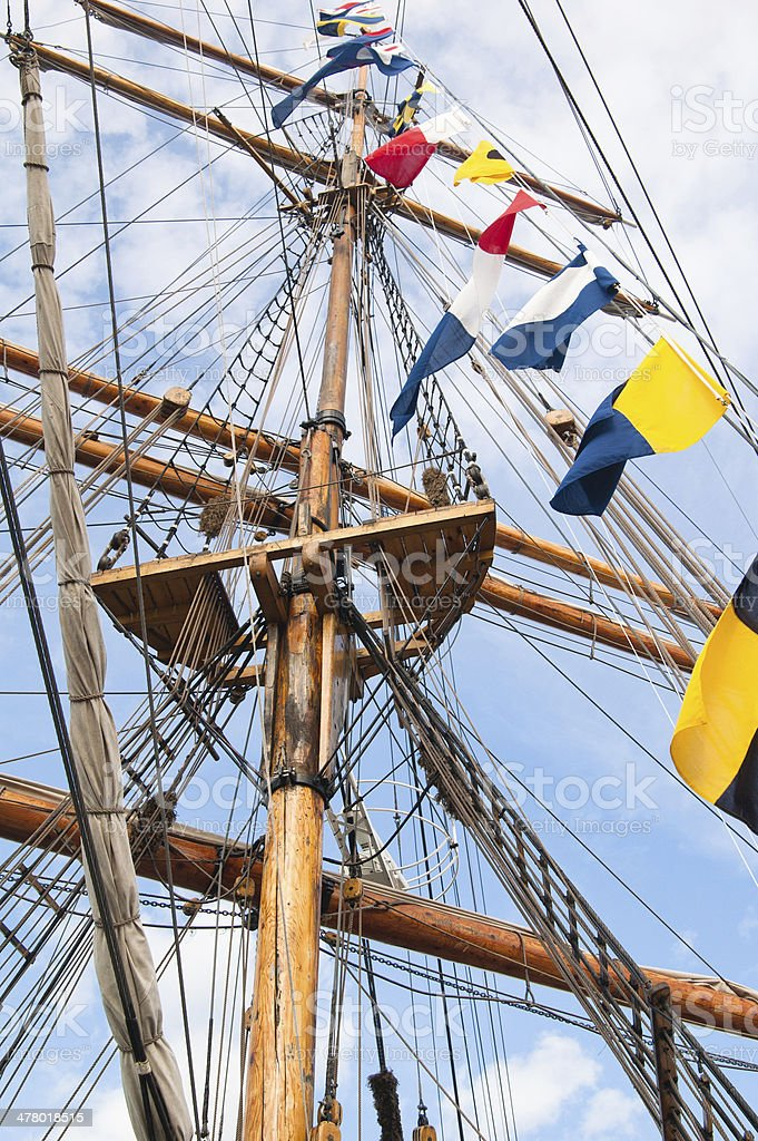 Mast of an ancient sailing vessel royalty-free stock photo