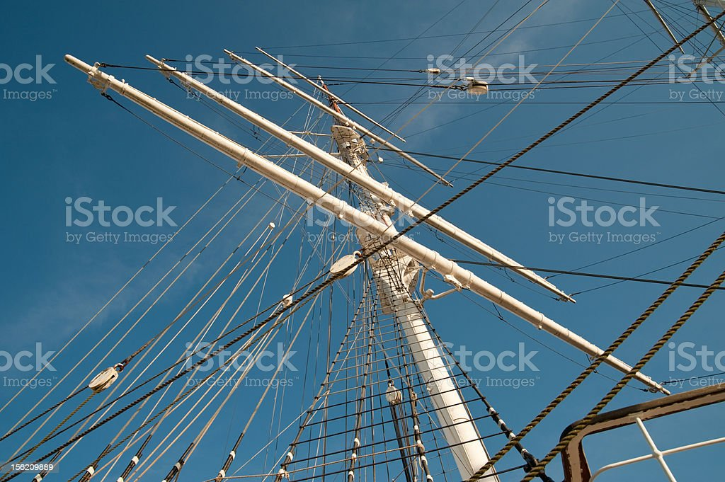 Mast of sailing ship stock photo