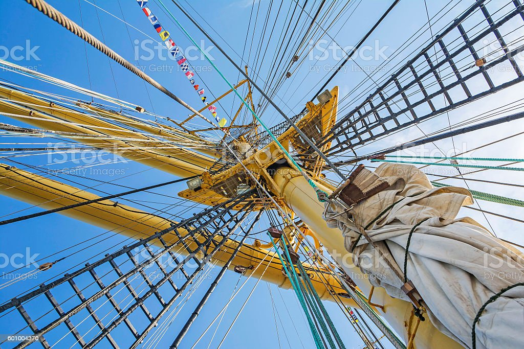 Mast of tall ship in a sunny day stock photo