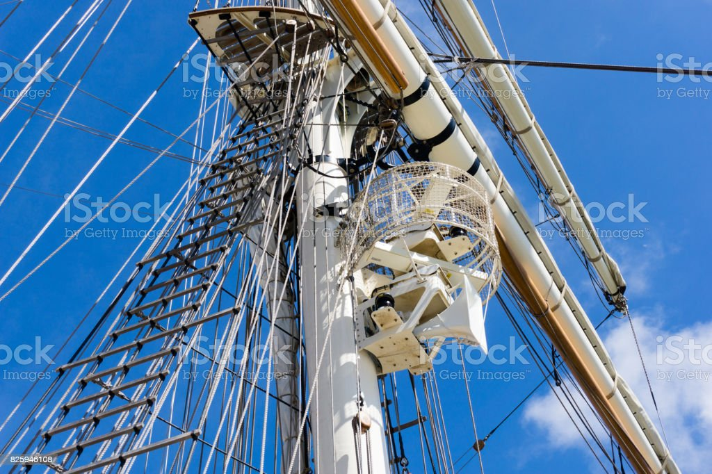 Mast, rigging and ropes on a sailing ship stock photo