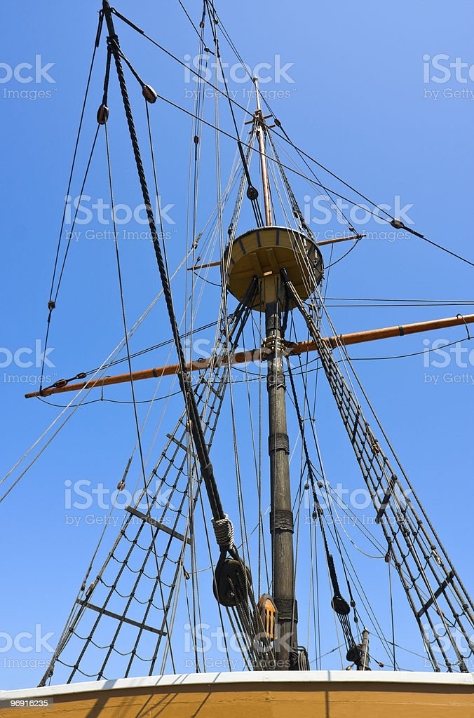 Mast, ropes and gear of old sail boat royalty-free stock photo