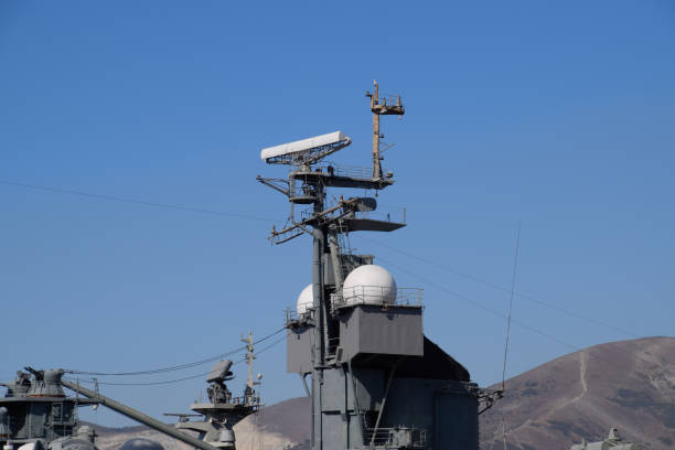 Mast warship. The lightning arresters and antenna shortwave and longwave data. Marine service Mast warship. The lightning arresters and antenna shortwave and longwave data. Marine service. aegis stock pictures, royalty-free photos & images