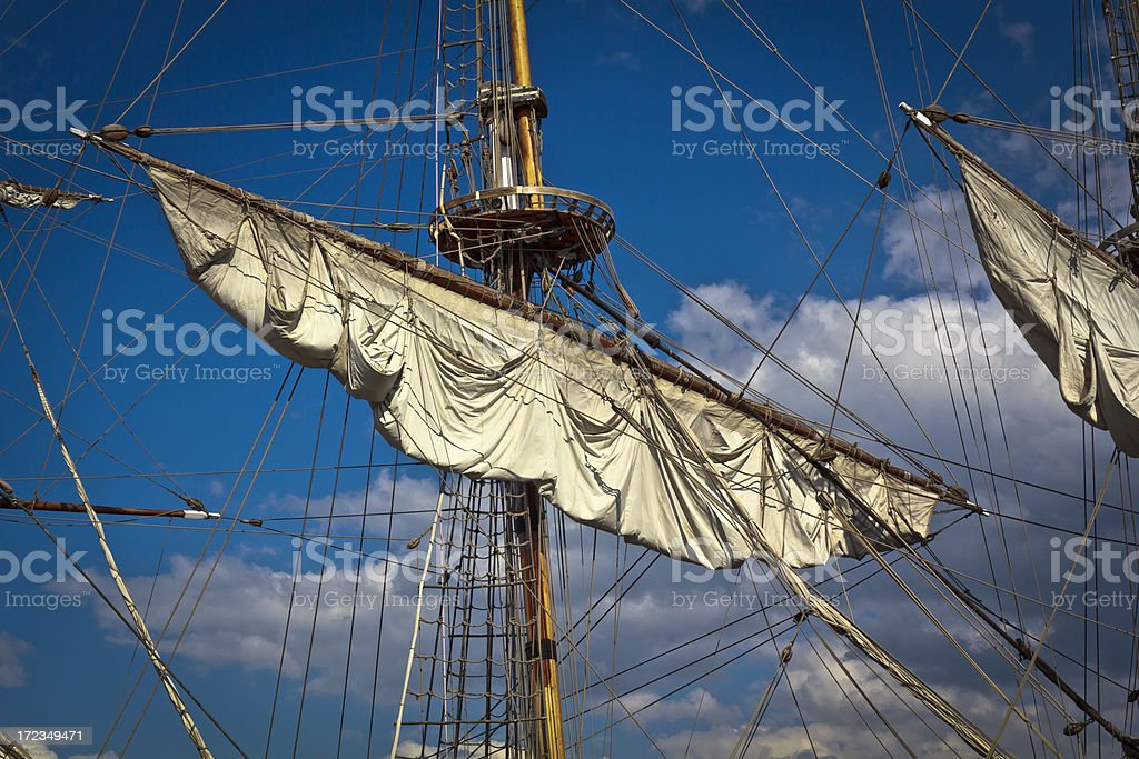 Mast with Crow's Nest and sails royalty-free stock photo