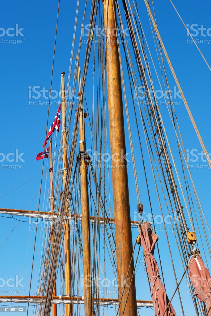 Mast with Norwegian flags on top stock photo