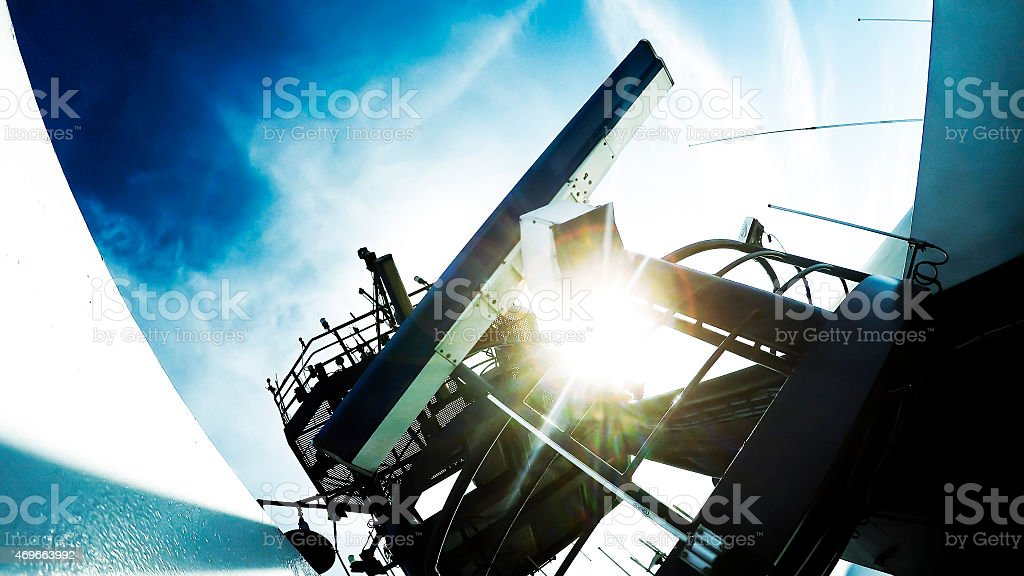 Mast with radar and radio aerials on a warship stock photo