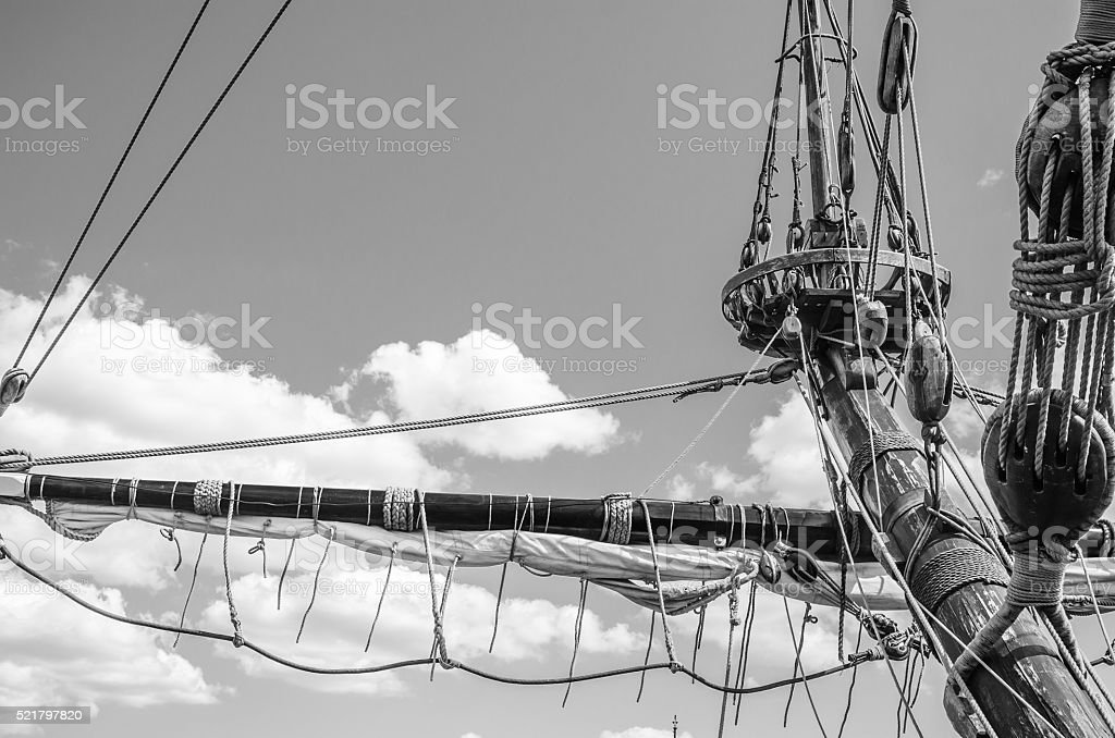 Mast with sails  old sailing vessel, black and white photo stock photo