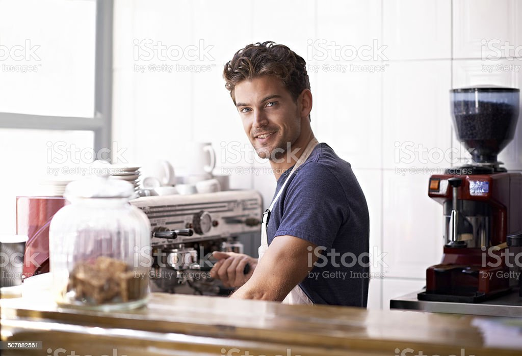 Master barista at work stock photo
