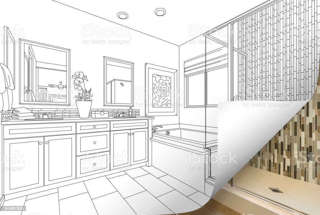 Master Bathroom Drawing Page Corner Flipping With Photo Behind Stock