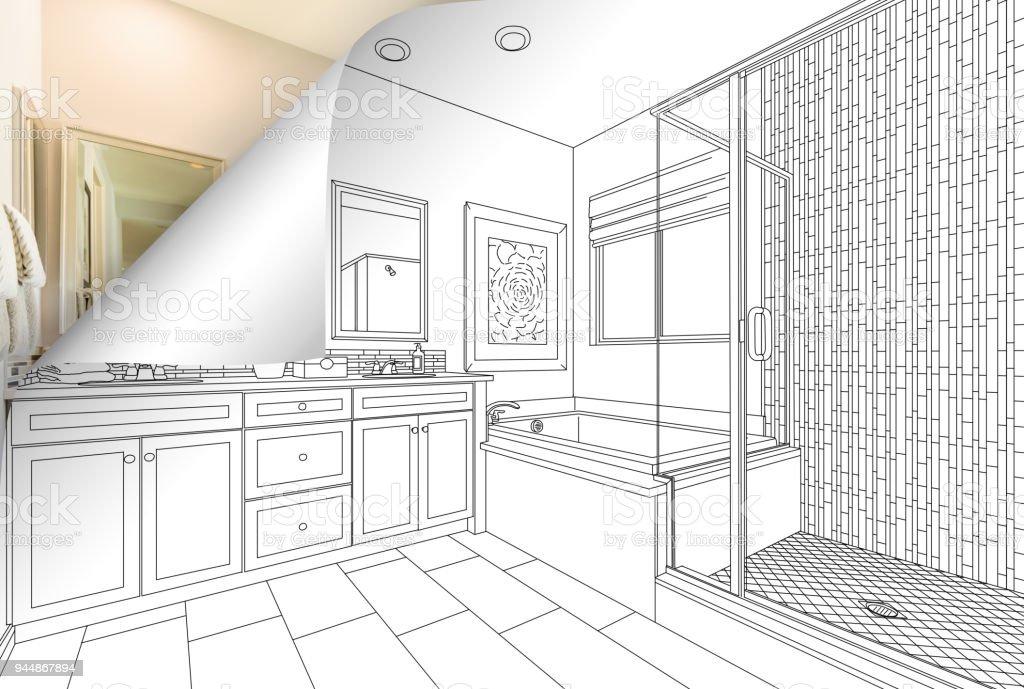 Masterbadezimmer Zeichnen Seitenecke Spiegeln Mit Foto Hinter Stock
