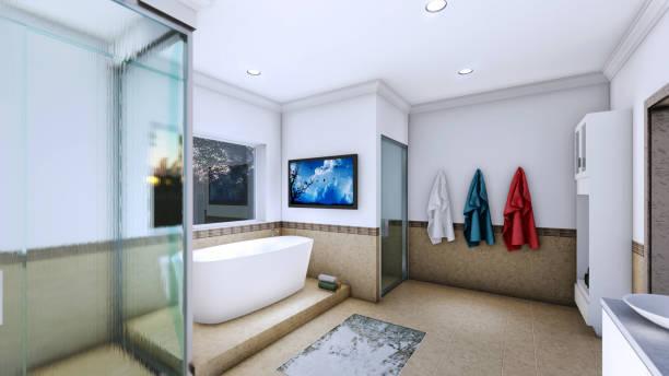 master bathroom en-suite 3d rendering perspective bathroom, kitchen, domestic bathroom, shower, mirror - deign stock pictures, royalty-free photos & images