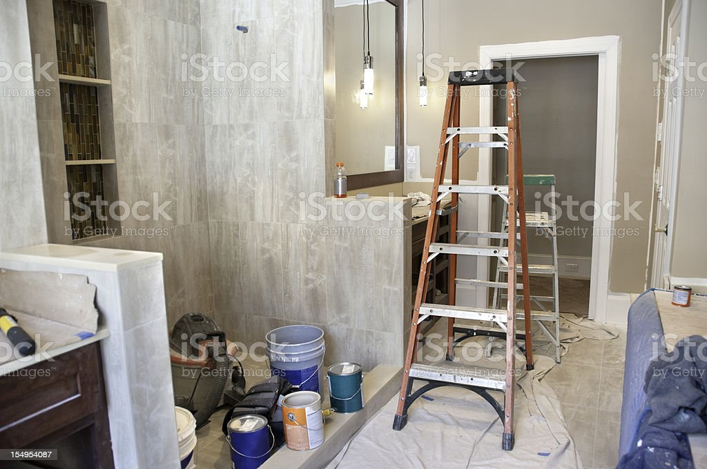 Master bathroom in midst of remodeling stock photo