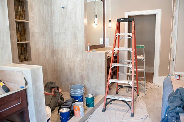 master bathroom in midst of remodeling - husutbyggnad bildbanksfoton och bilder