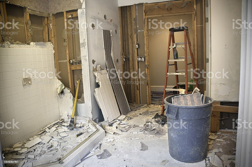 Master Bathroom Remodeling: Demolition Phase stock photo