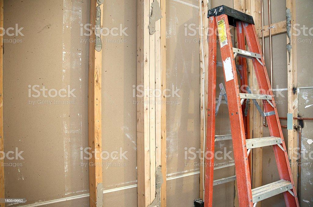 Master Bathroom Remodeling: Newly Framed Shower stock photo