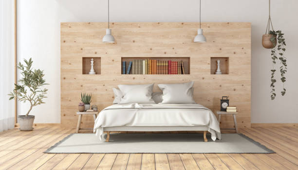 Master bedroom in rustic style stock photo