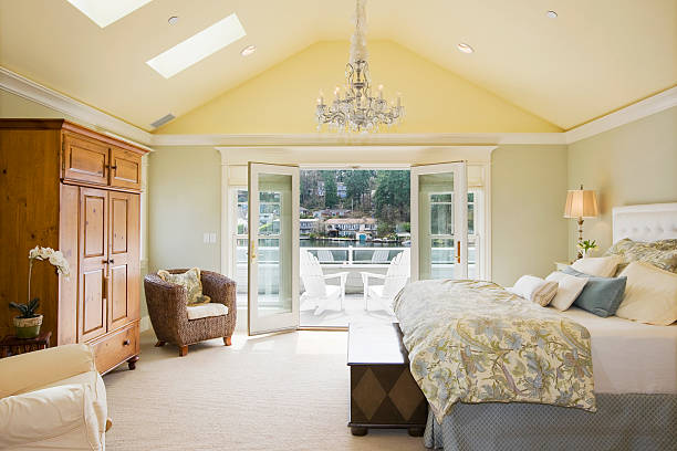 Master bedroom Beautiful master bedroom in luxury home. luxury hotel room stock pictures, royalty-free photos & images