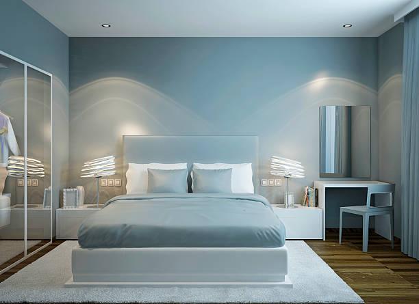 schlafzimmer im skandinavischen stil - hellblaues zimmer stock-fotos und bilder