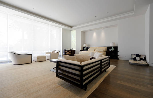 master bedroom, wide angle - sisal stock pictures, royalty-free photos & images