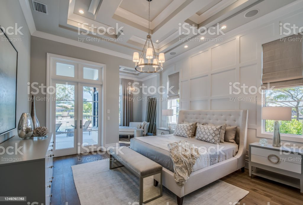 Master Bedroom With High Coffered Ceiling And Wainscoting Wall Stock Photo Download Image Now Istock