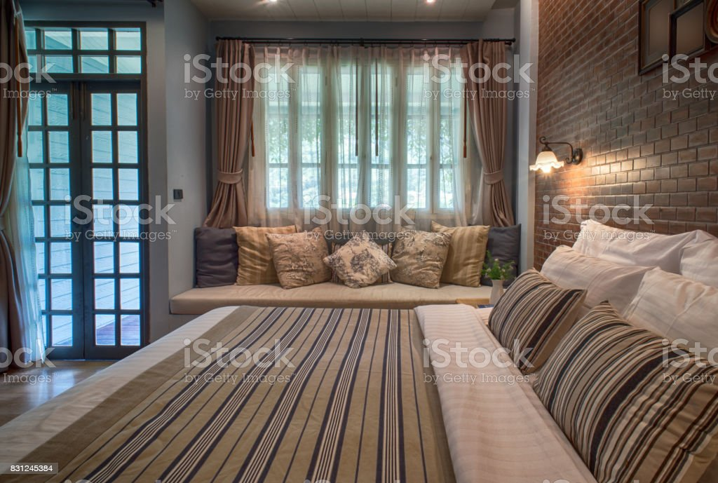 Master bedroom with king size bed stock photo