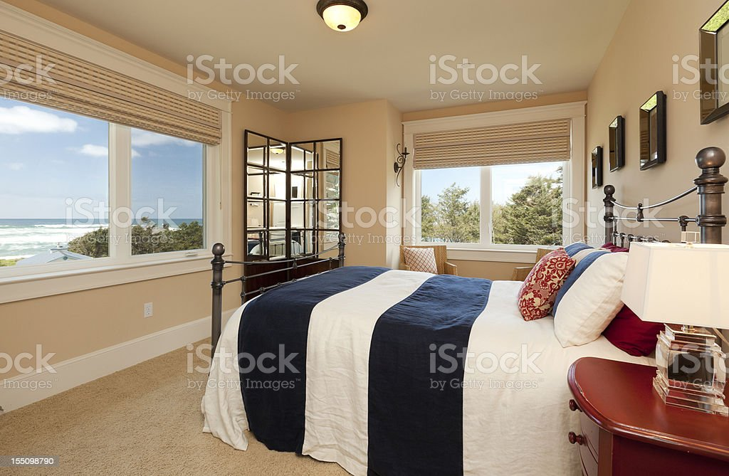 Master Bedroom with Ocean View royalty-free stock photo