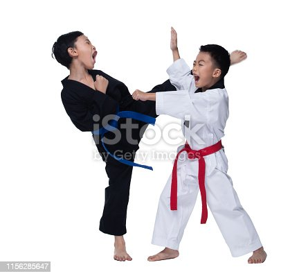 Master Red Blue Belt TaeKwonDo Kids show fighting pose, Asian Teenager Boys athletes exercise warm up in black white uniform pants bare foots kick punch, studio lighting white background copy space