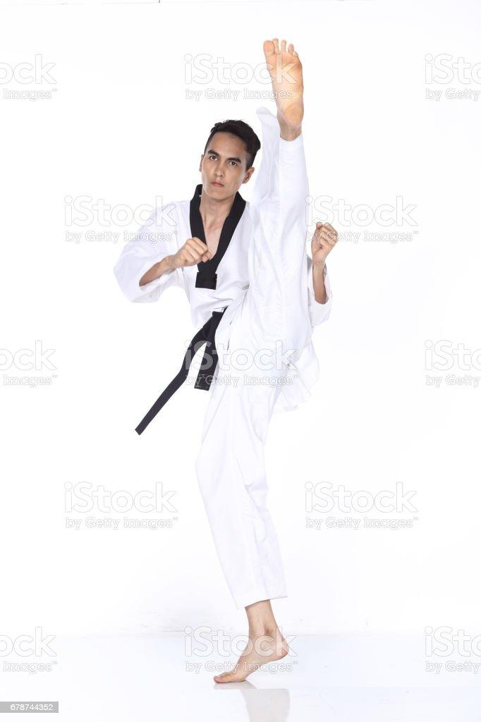 Master siyah kuşak TaeKwonDo Teacher Haritayı poz mücadele, royalty-free stock photo