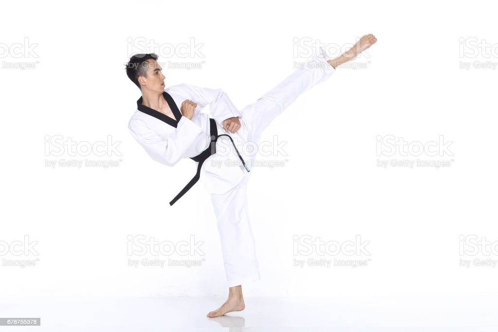 Master Black Belt TaeKwonDo Teacher show fighting pose, stock photo