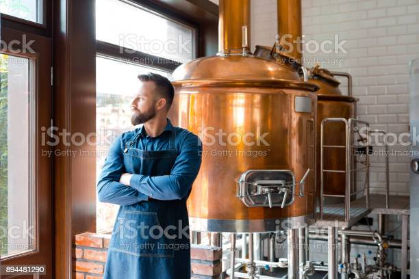 Master Brewer Standing In Micro Brewery Stock Photo - Download Image Now