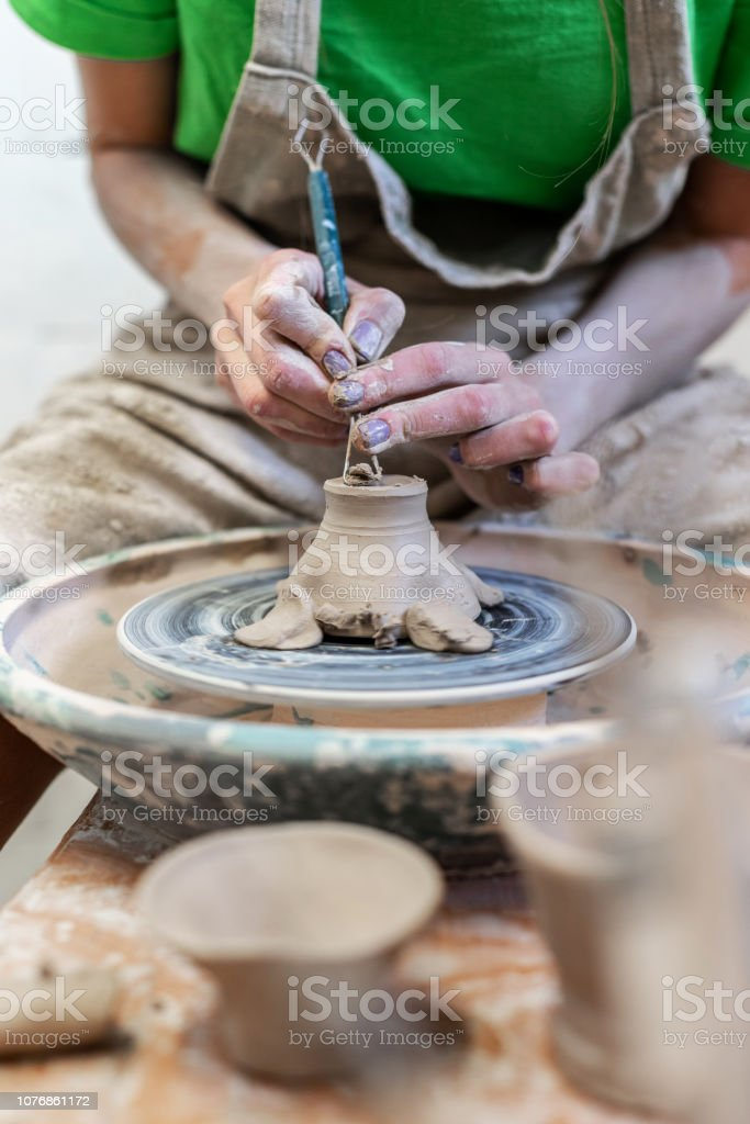 Master class handcraft concept. Cropped artisan artist lady in her...