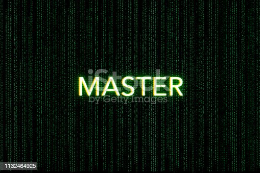 862615830 istock photo master, keyword of scrum, on a green matrix background 1132464925