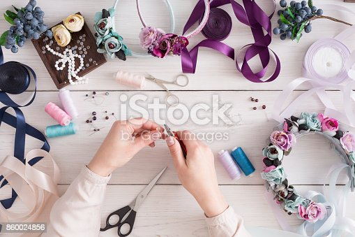 istock Master making handmade jewelry, top view 860024856