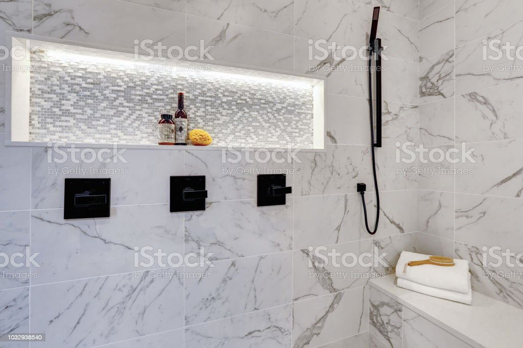Master Modern Bathroom Interior In Luxury Home With White Shower And Marble Tiles Stock Photo Download Image Now Istock