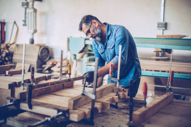 Master woodworker stock photo