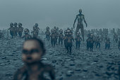 Master zombie with walking dead zombie children.