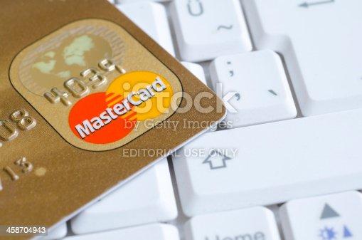 İstanbul,Turkey - Agust 14, 2011:Mastercard credit cards on the keyboard.Mastercard logos on credit cards, Mastercard credit card companies in the world