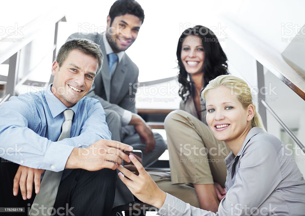 Mastering the businessworld, one call at a time stock photo