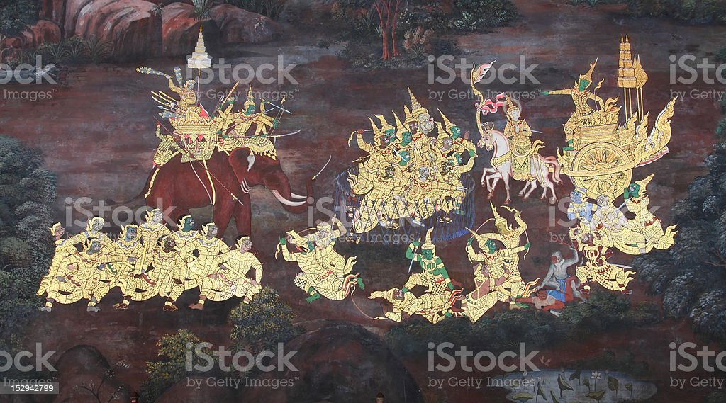 Masterpiece of Thai style art painting stock photo