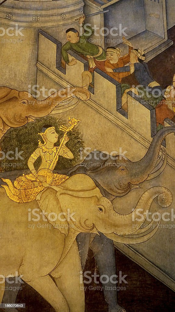 Masterpiece of Thai traditional painting in Temple stock photo