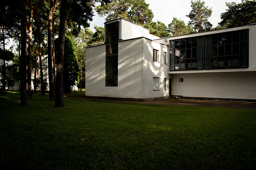 Dessau-Rosslau, Germany – Juny 15, 2016. View of the House Kandinsky / Klee in Dessau-Rosslau, with grass lawn and trees. The building forms a part of the Masters' Houses. The two artists lived in this building in the 1920s.