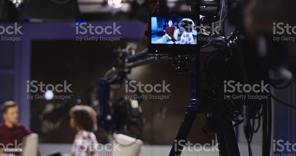 Masters of show in telecasting studio stock photo