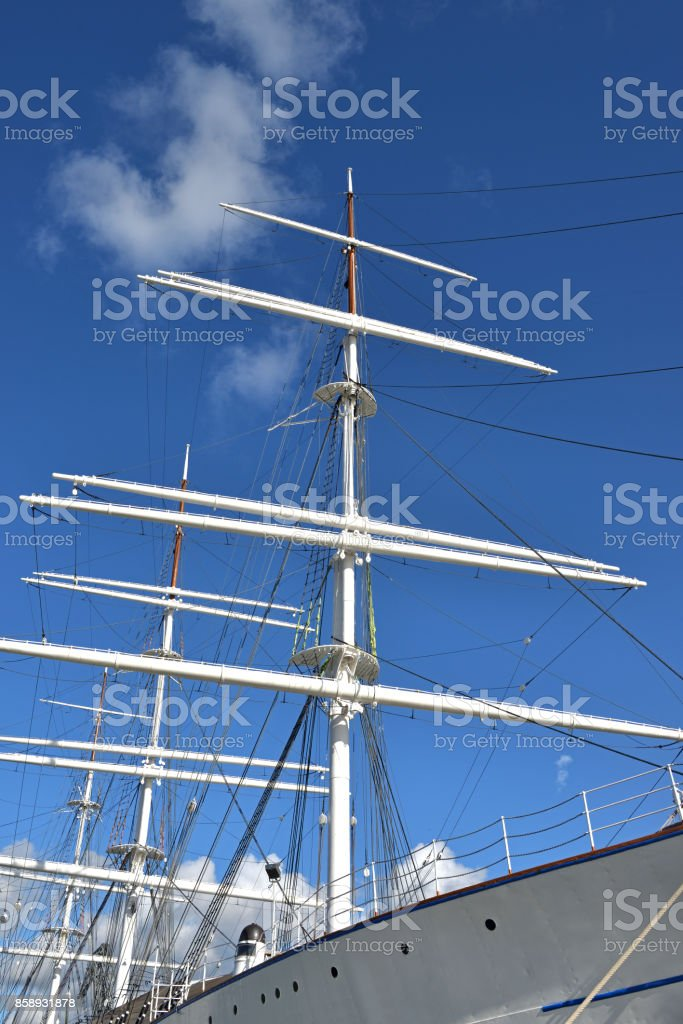 Masts of old frigate stock photo
